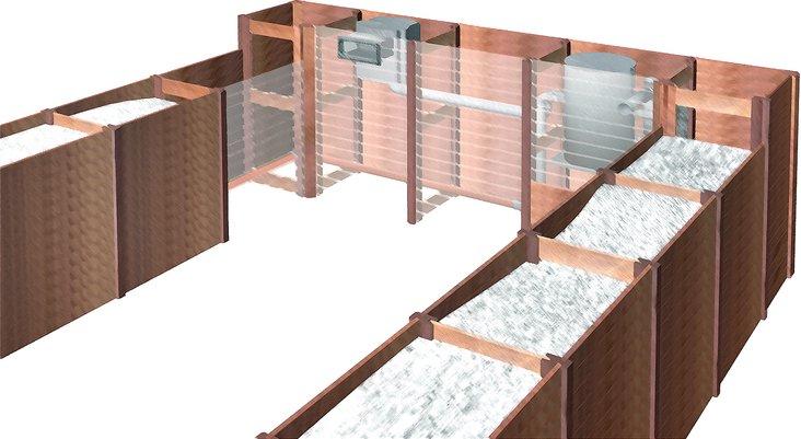 Schwimmteichbau mit bell vital-Wandmodulen aus Wasserbauholz